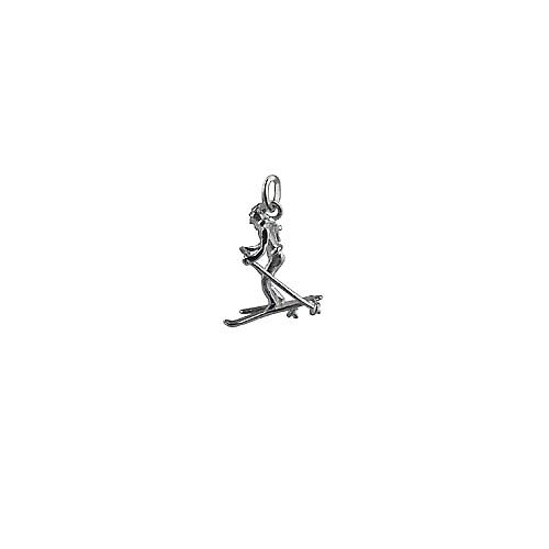 Silver 22x18mm Skier Pendant or Charm