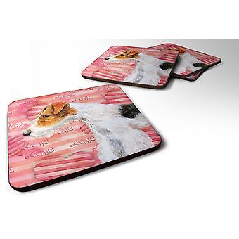Carolines Treasures  BB9737FC Set of 4 Fox Terrier Love Foam Coasters Set of 4