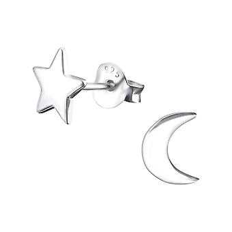 Star And Moon - 925 Sterling Silver Plain Ear Studs - W23823x