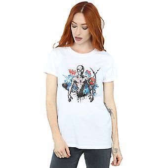 Marvel Women's Spider-Man Graffiti Pose Boyfriend Fit T-Shirt
