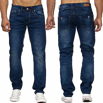 Men's jeans long men's trousers Denim quality flag DARK BLUE stonewashed new