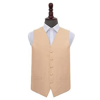 Champagne Solid Check Wedding Waistcoat
