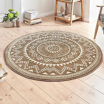 Designer velour carpet Valencia Brown cream round