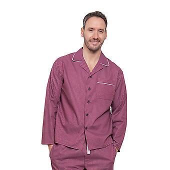 Cyberjammies 6282 Men's Austin Red Geometric Pajama Pyjama Top
