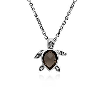 Gemondo Sterling Silver Smoky Quartz & Marcasite Turtle 45cm Necklace