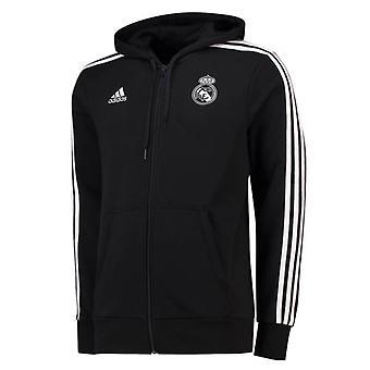 2018-2019 real Madrid Adidas 3S con cappuccio Zip (nero)