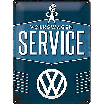 Volkswagen Service Large Embossed Steel Sign 400Mm X 300Mm