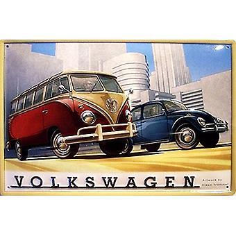 Minibus Volkswagen et coccinelle en relief signe acier 300 X 200 Mm