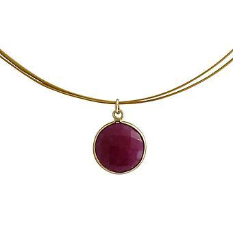 Gemshine - damas - collar - plata 925 - oro - Ruby - rojo - caramelo - 45 cm