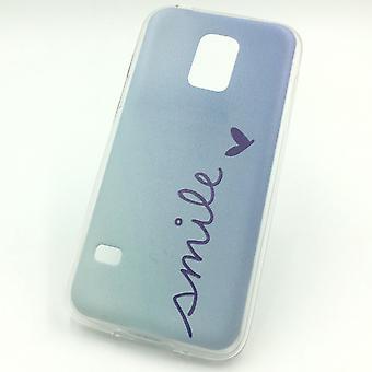 Handy Hülle für Samsung Galaxy S5 Mini Cover Case Schutz Tasche Motiv Slim Silikon TPU Schriftzug Smile Blau