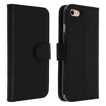 Flip wallet case, magnetic cover with stand for iPhone 7 / iPhone 8 - Black