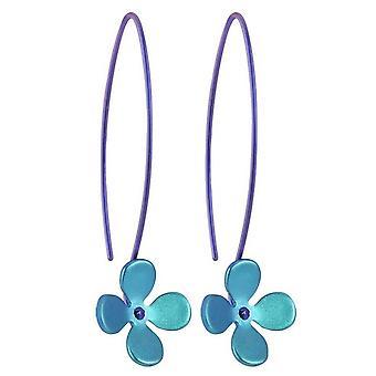 Ti2 Titan 13mm fyra kronblad blomma Drop örhängen - Kingfisher blå