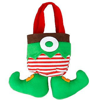 TRIXES Cute Novelty Green Christmas Elf Stocking Bag for Chocolates Sweets and Small Gifts