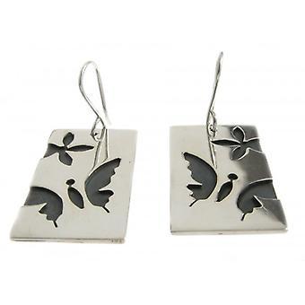 Cavendish Franse zilveren vlinder Dog Tag oorbellen