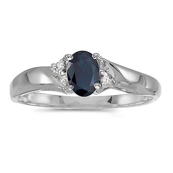 14 k hvitt gull ovale safir og Diamond Ring