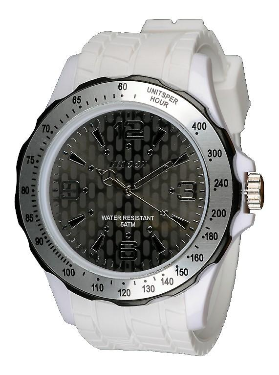 Waooh - Silicone Watch White With A Black Bezel and Silver Gpm48 Inspired From Monaco Grand Prix