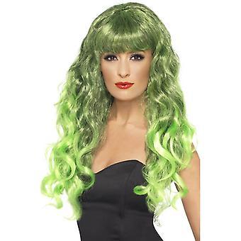 Verde de largo ondulado peluca, peluca de sirena, vestido de lujo accesorio, estrella de cine.
