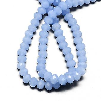 95+ Pale Blue Czech Crystal Opaque Glass 4 x 6mm Faceted Rondelle Beads HA20045