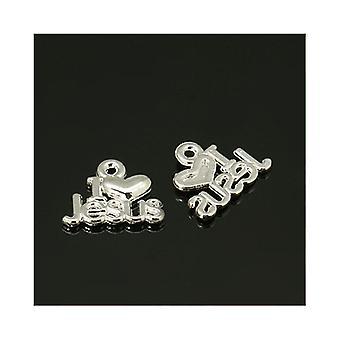 Paket 30 x Silber tibetischen 15mm ich Liebe Jesus Charm-Anhänger ZX00415