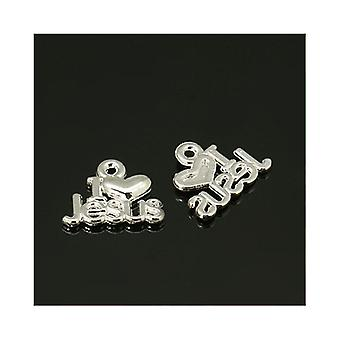 Packet 30 x Silver Tibetan 15mm I Love Jesus Charm/Pendant ZX00415