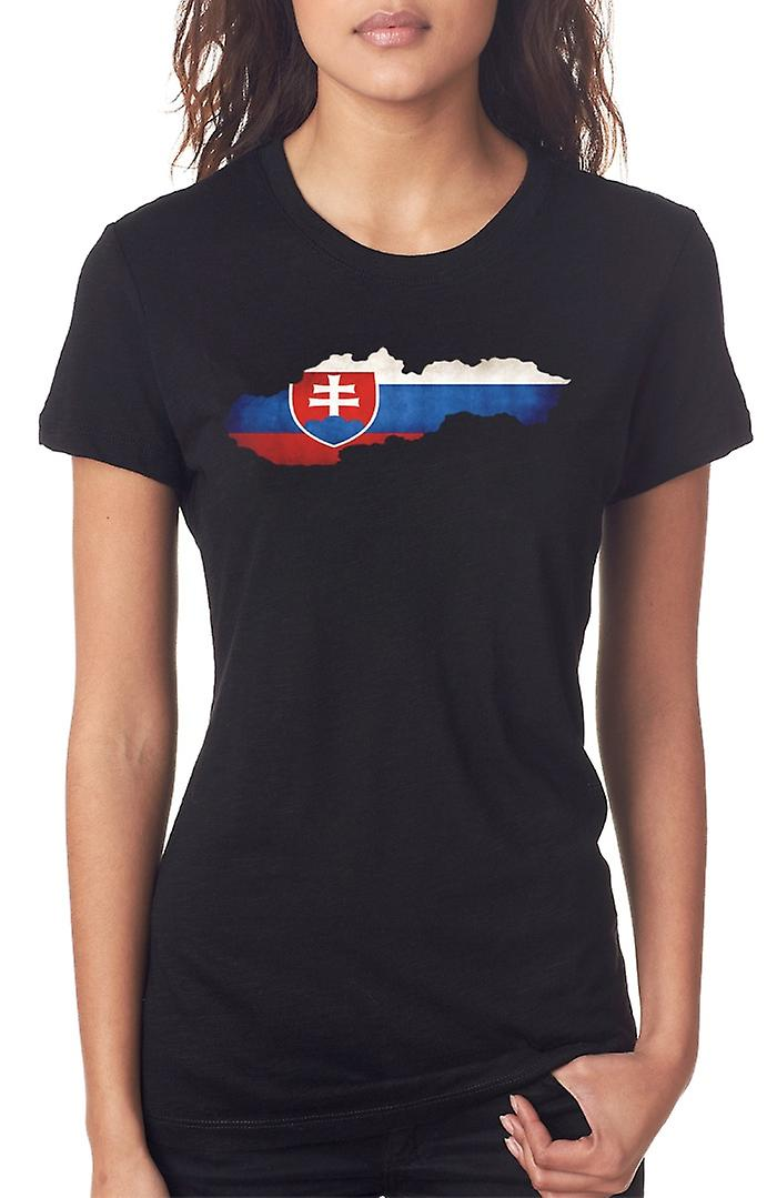 Slovakia Flag Map Ladies T Shirt