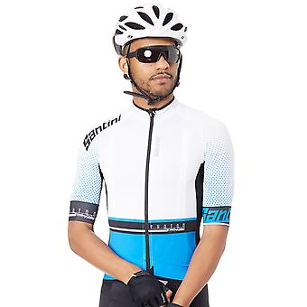 Santini Turquoise-White 2017 Photon 3.0 Short Sleeved Cycling Jersey
