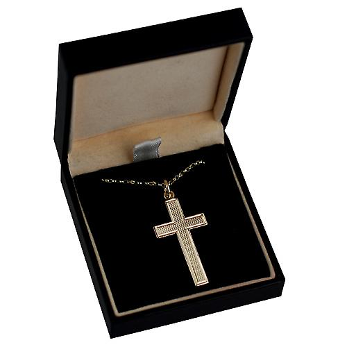 9ct Gold 34x19mm engine turned barley infill flat latin Cross with belcher Chain 18 inches