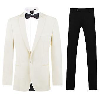 Dobell Mens hvit 2 stykke Dress Slim Fit topp jakkeslaget middag passer sorte bukser
