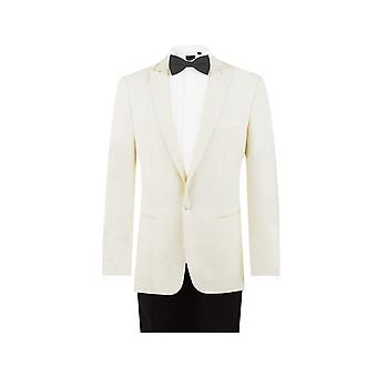 Dobell Mens blanc 2 pièce smoking Slim Fit Peak Lapel soirée dîner costume pantalon noir
