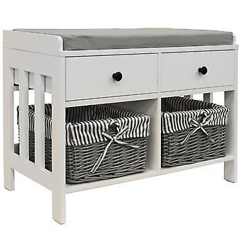 Dubbel - lagring / sko förvaring bänk med två lådor och korgar - vit / grå