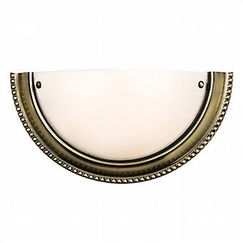 Endon 61237 Atlas Frosted Glass Wall Light in Antique Brass Finish