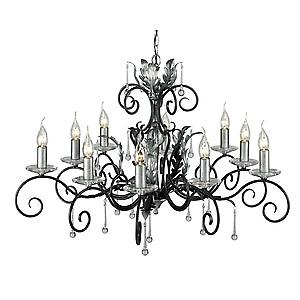 Elstead AML10 BLK/SILVER Amarilli Traditional Black/Silver 10 Arm Chandelier Forged Scrolls