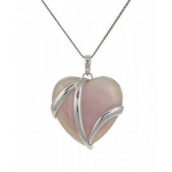 "Cavendish French Sterling Silver and Pink Mother of Pearl Heart Pendant with 16 - 18"" Silver Chain"