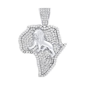 Premium Bling 925 Sterling Silber Afrika Löwe Anhänger