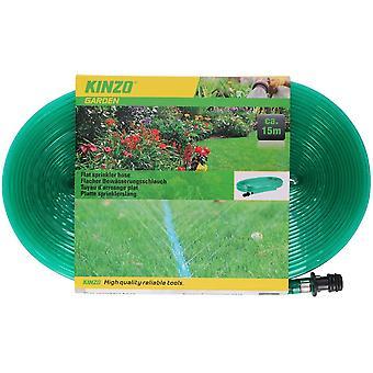 Flat sprinkler hose  15 meters Plastic Green