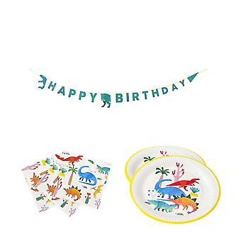 Dinosaur Dino Birthday Party Pack Plates Napkins and Bunting for 8