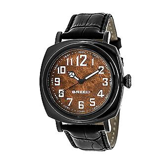 Breed Mozart Wood-Dial Leather-Band Men's Watch-Black