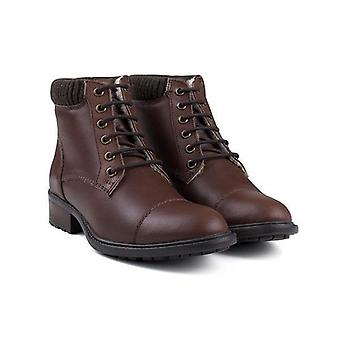 Ladies brown waxy leather work boot