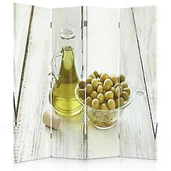 Room Divider, 4 Panels, Double-Sided, 360 ° Rotatable, Canvas, Olives And Olive Oil In A Bowl