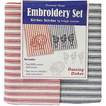 Dancing Dishes Kitchen Stitches Embroidery Set Cream with Red & Cream with Green Stripe 200 104