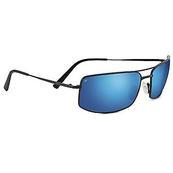 Serengeti Treviso Sunglasses (Satin Black Frame Polarized 555nm Blue Lens)