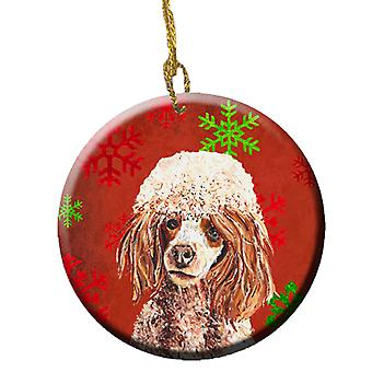 Red Miniature Poodle Red Snowflakes Holiday Ceramic Ornament SC9747CO1
