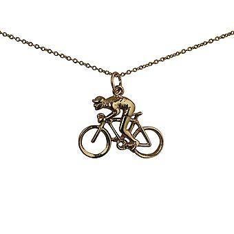 9ct Gold 18x25mm Bicycle and Cyclist Pendant with a cable Chain 16 inches Only Suitable for Children