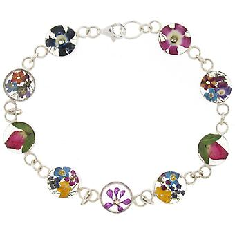 Shrieking Violet Sterling Silver Bracelet made with Real Mixed Flowers