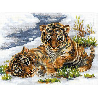 Tiger Cubs In Snow Counted Cross Stitch Kit-15.75