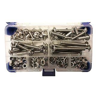 595 Piece M4 Stainless Steel Socket Flanged Button Machine Screws with Nuts and Washers
