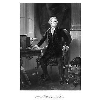 Storia americana Vintage stampa di Alexander Hamilton che si siede alla sua firma deskwith fondo stampare Poster