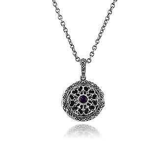 Gemondo 925 Sterling Silver 0.10ct Amethyst & Marcasite 46cm Locket Necklace