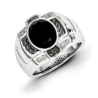 Sterling sølv Diamond og Onyx Oval sort Rhodium-belagt Herre Ring - ringstørrelse: 9-11