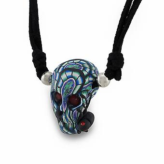 Tie Dye Skull w/Black Spider On Slider Cord Necklace